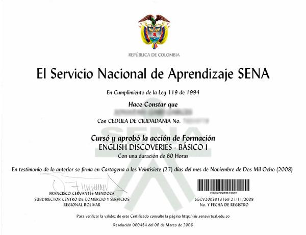 Certificado SENA de curso de inglés virtual
